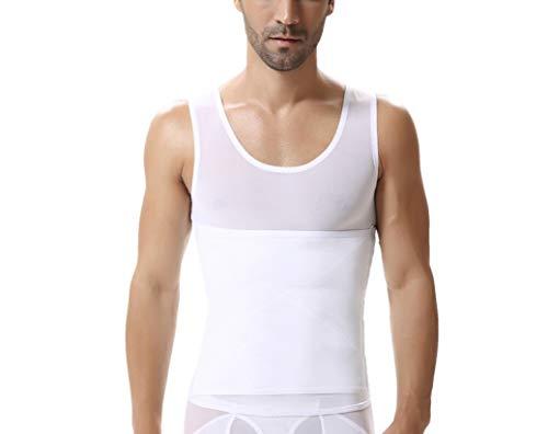 ASO-SLING Men Sweat Vest Neoprene Sauna Waist Trainer Vest Body Shaper Weight Loss Fat Burner Slimming Workout Tank Tops White