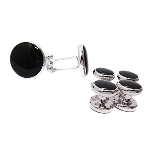6 Pcs Classic Costume Shirt Black Round Cufflinks And Studs Set
