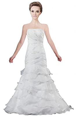 ANTS Women's Organza Tiered Strapless Mermaid Bridal Gown for Wedding