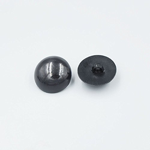 Bluemoona 100 Pcs Sew on Glossy Black Shank Acrylic Button Bear Doll Nose Eyes DIY hand sewing 15MM