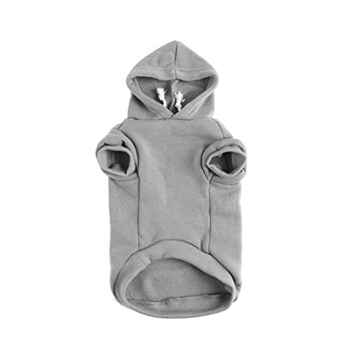 - uxcell Pet Dog Hooded Hoody Sweatshirt Clothes Cotton Apparel Puppy Cat Winter/Spring/Fall Costume Outfits Fleece Warm Coat Grey XL
