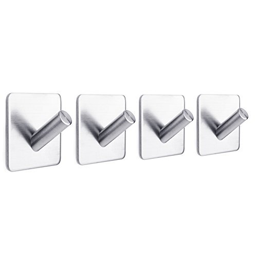 M&M Mymoon 4 Pieces Stainless Coat Hooks Steel Home Multi - functional Waterproof Wall - mounted Self - adhesive Clothes Towel Hook Convenient and practical