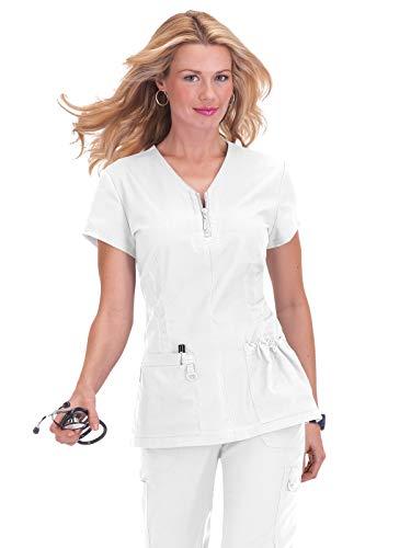 KOI Women's Stretch Mackenzie Figure-Flattering Zip-Front Scrub Top, White 3X-Large