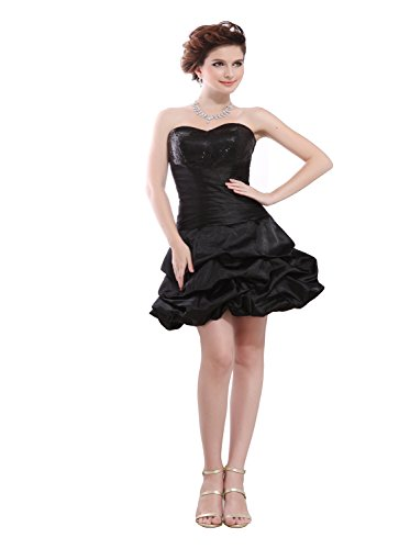Angel Formal Dresses Sweetheart Sequins Mini Taffeta Bubble Cocktail Dress (14, Black) -