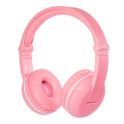 ONANOFF BuddyPhones Play, Wireless Bluetooth Volume-Limiting Kids Headphones, 14-Hour Battery Life, 4 Volume Settings of 75, 85, 94dB and StudyMode, Includes Backup Cable for Sharing, Pink