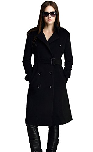MEHEPBURN Women's Double Breasted Wool Coat Tie Belt Black L