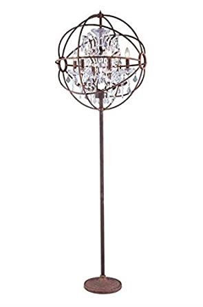 Metro Rustic Iron Modern 6 Light Floor Lamp Heirloom Handcut Crystal In  Crystal (Clear
