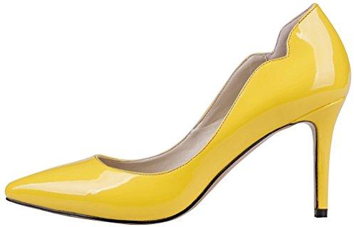 Donne Calaier Cajust Pompe 8,5 Centimetri A Spillo Scarpe Scivolare Giallo