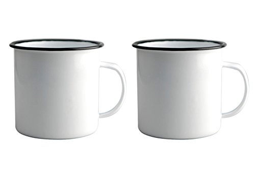 Asobu Happy Trails Classic Country Camper Coffee and Tea Mug Pack of 2 (Whte 2 Pack )