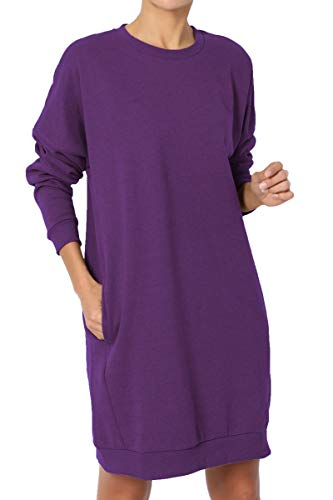 Wide Crew Sweatshirt - TheMogan Women's Casual Crew Neck Pocket Loose Sweatshirt Tunic Purple S/M