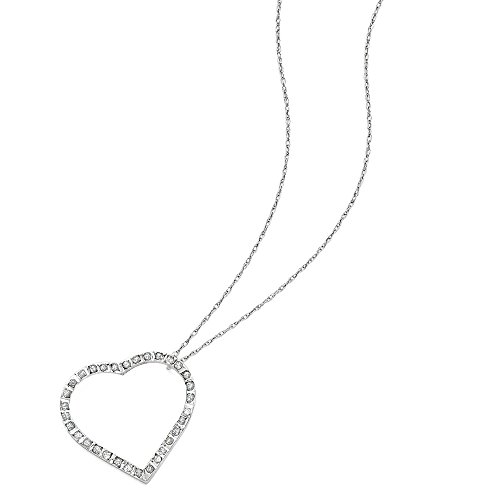 (14k White Gold Diamond 18in Large Heart Necklace w/Gift Box (Color H-I, Clarity SI2-I1))