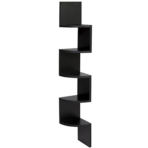 Nmch Corner Shelves, 5-Tier Wall Mount Corner Wall Shelf, Zig Zag Corner Storage (Black) - Teak Tv Cabinet