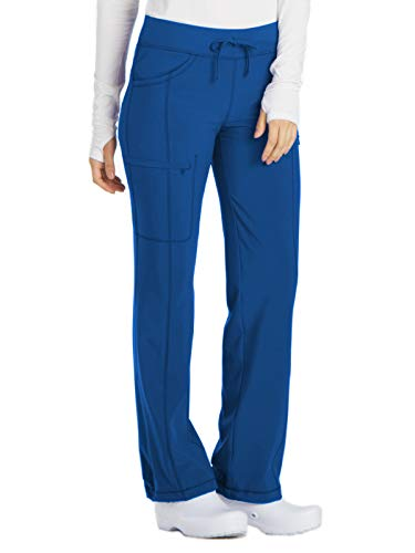 Cherokee Women's Infinity Low Rise Straight Leg Drawstring Pant, Royal, Medium