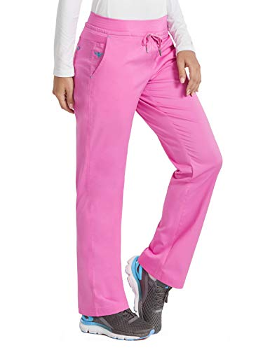 Med Couture Signature Yoga Drawstring Scrub Pant for Women, Lollipop/Turquoise, Large Petite ()
