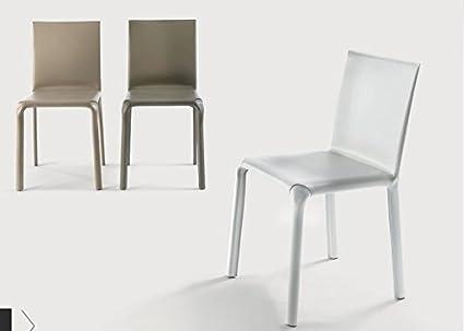Set di 2 sedie Alice di Bontempi in cuoio, cm L.44 x P. 51 x H.81 ...