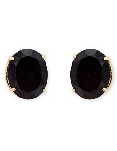 Real Pierced Earrings - Efulgenz Jewelry 14K Gold Plated Hypoallergenic Black Oval Cubic Zirconia 6 MM Stud Earrings Set for Pierced Ears