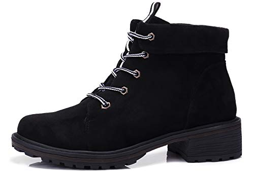 CAMEL CROWN Women's Ankle Boots Low Heel Suede Lace Up Ankle Booties Fashion Casual Combat Boots Black