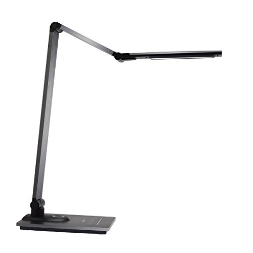 IMIGY Aluminum Alloy LED Desk Lamp with USB Charging Port, 9W Dimmable Office Lamp, Slide Touch Control with Stepless Adjustable Brightness and 3 Color Modes, Black by IMIGY (Image #1)