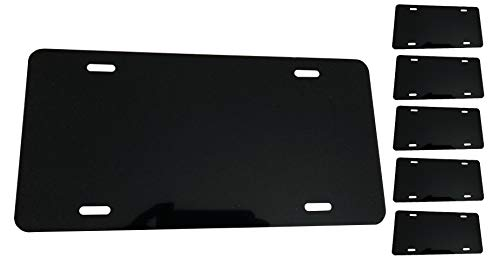 BLACK [5-PACKS] Blank Aluminum License Plate - 0.025 Thickness/0.5mm - US/Canada Size 12x6