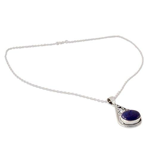 Pendant Lapis (NOVICA Lapis Lazuli .925 Sterling Silver Pendant Necklace, 17.75