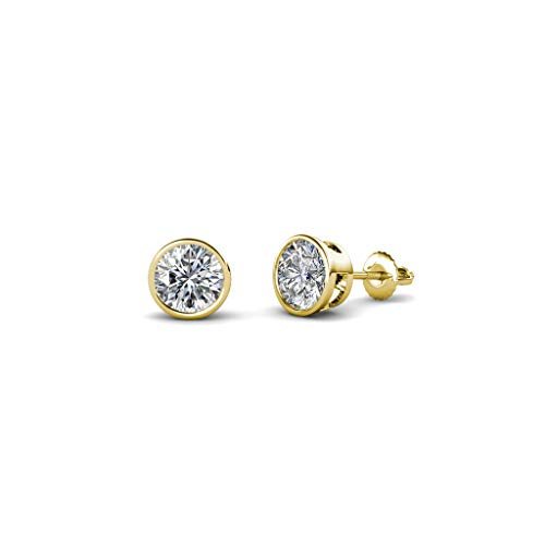 TriJewels Round Lab Grown Diamond 0.33 ct Bezel Set 3.6mm Womens Solitaire Stud Earrings (VS2-SI1-Clarity, F-G-Color) 14K Yellow Gold ()