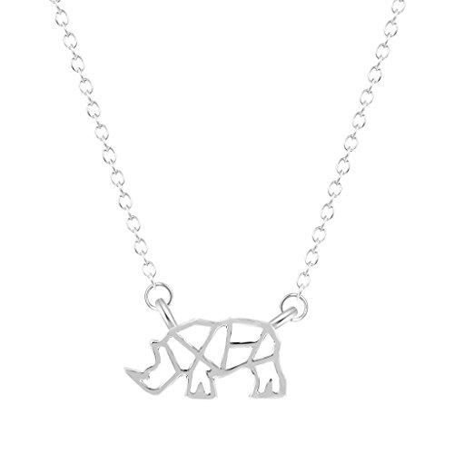 Qiandi Rhinoceros Animal Rhino Necklaces Pendants Birthday Jewelry Gift for Girls Women