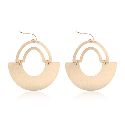 RIAH FASHION Simple Geometric Hoop Statement Earrings - Bohemian Tribal Lightweight Profile Shield Threader Dangles Curved Metal Crescent Moon, Embellished, Floral (Fan - Gold)