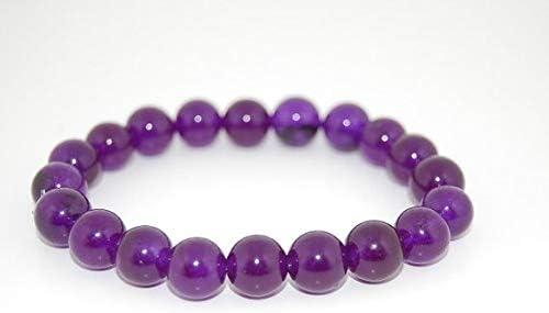 Jewels Beads - Pulsera de ágata morada AAA++ de calidad AAA++ con cuentas redondas de 8 mm, pulsera elástica para todos, código UKA-10951