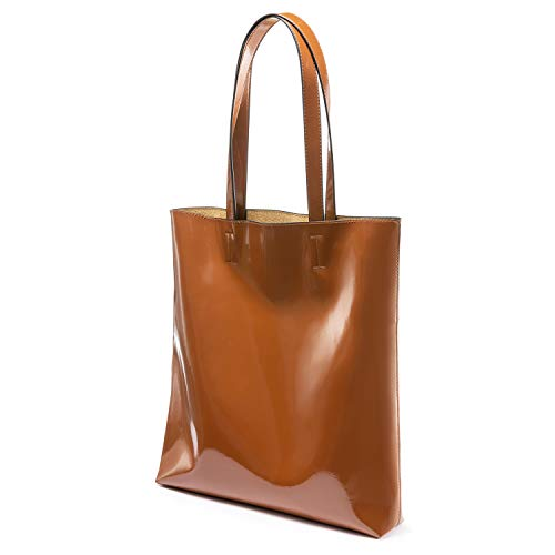 - LOVEVOOK Tote Bag Patent Handbags for Women Travel Bag Softer, Scratch and Water resistant Brown
