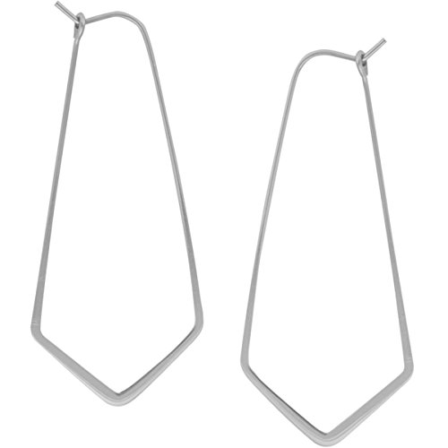 (Geometric Chevron Threader Hoop Earrings - Lightweight Cutout Thin Wire Drop Dangles, 925 White - 2 inch, Sterling Silver-Electroplated, Hypoallergenic, by Humble Chic NY)