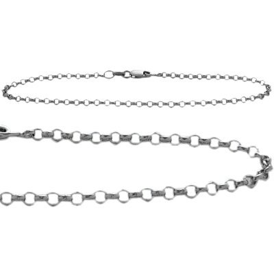 10K White Gold Belcher Style 9 Inch Anklet by Elite Jewels