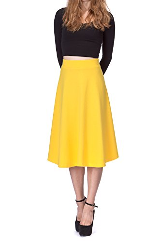 (Everyday High Waist A-line Flared Skater Midi Skirt (S, Yellow))