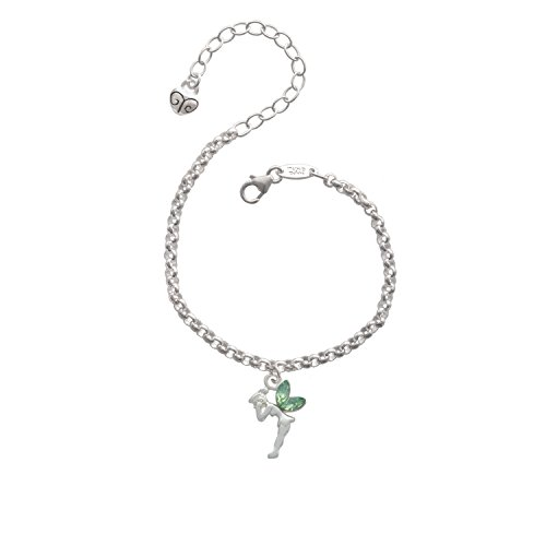 Silvertone Small Fairy with Lime Green Wings - Charm Bracelet, 8""