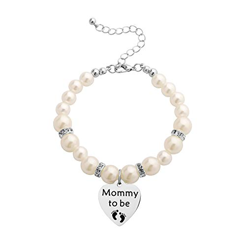 CHOROY Mommy to Be Bracelet Expectant Mother Bracelet New Mom Gift Pregnancy Announcement Gift for Mother-to-be (Mommy to be Pearl Bracelet)