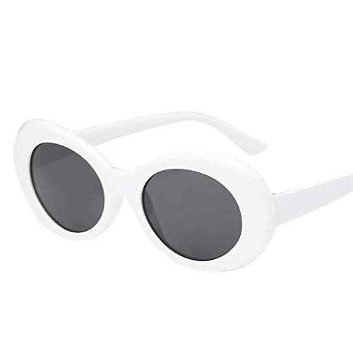 Haluoo Clout Goggles, Retro Oval Mod Thick Frame Sunglasses Round Lens Outdoor Sports Driving Glasses Women Men Girl Boy Sunglasses (White Clout Goggles)