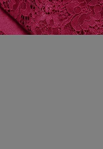 Dentelle Robe Robe de sans Femme A aordeaux de Midi OMZIN avec XL Robe Mousseline Soie d't Robe Manches XS de Cocktail Fn1vWWt
