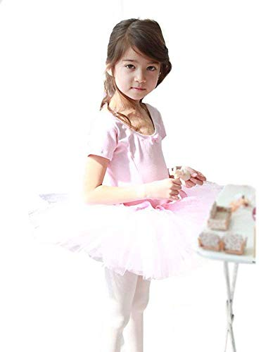 V28 Girls Ballet Tutu Dress Multi Styles (6-7 Years, Pink Plain) -