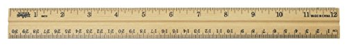 School Smart Double Beveled Wood Ruler, 12 x 1-1/8 x 5/32 Inches Double Beveled Edge Ruler