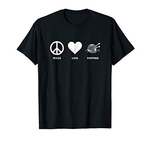 Peace Love knitting T-shirt - Shirts for Knitters ()
