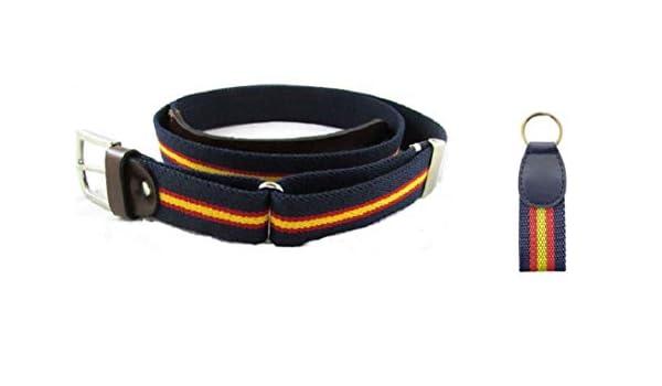 Cinturón hombre eslástico ajustable con la bandera de españa, azul marino y cuero, regalo llavero españa y presentado en bolsita de tela granate: Amazon.es: Ropa y accesorios