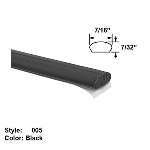 Vinyl Plastic Flush-Mount Adhesive-Back Trim, Style 005 - Wd. 7/16'' - Black - 25 ft long