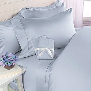 Blue Plain - Solid Queen Size Bed Sheet Set - 300 Thread 100% Egyptian Cotton [Fitted Sheet + Flat Sheet + 2 pillowcases]