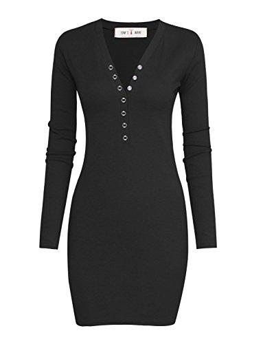 TAM Ware Women Casual Slim Fit V Neck Snap Button Bodycon Mini Dress
