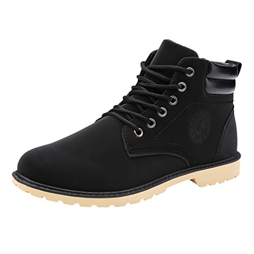 MENGQIN ⭐⭐ Men's Fashion Casual Lace Up Warm Ankle Motorcycle Boots Outdoor Leather Shoes