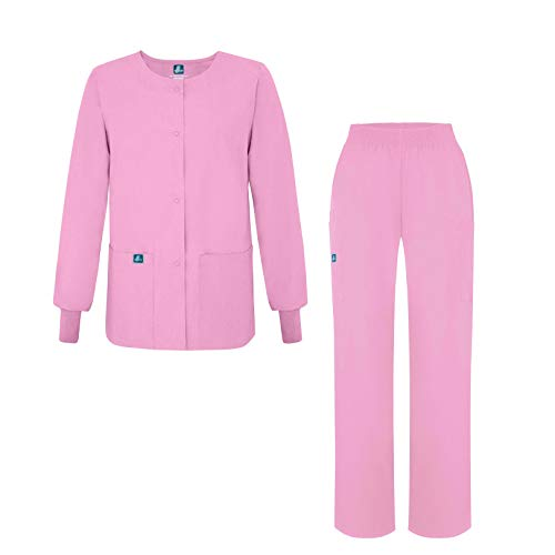 Adar Universal Women's Scrub Set - Warm-Up Scrub Jacket and Elastic Pull-On Pants - 902 - Sherbet - - Warm Set Up