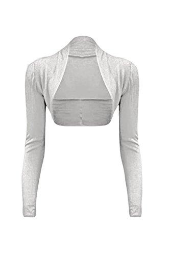 cexi Couture–Mujer Bolero Chaqueta de punto manga larga einf ärbig tamaños 36384042 Weiß