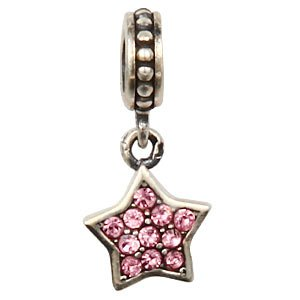 Everbling Star Dangle with Paved Light Pink Austrian Crystal October Birthstone Authentic 925 Sterling Silver Bead Fits Pandora Chamilia Biagi Troll Charms Europen Style Bracelets