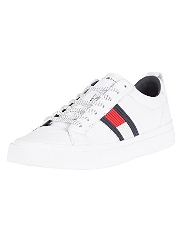 Tommy Hilfiger Flag Detail Sneaker Mens Trainers White Navy Red - 44 EU
