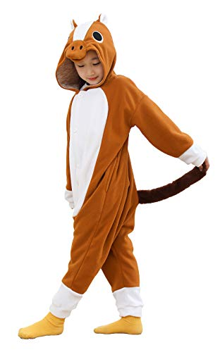 COSPLAYNEW Christmas Girls and Boys Brown Horse Onesie Pajamas Soft Fleece Halloween Costume Sleepwea (10-12 Years)