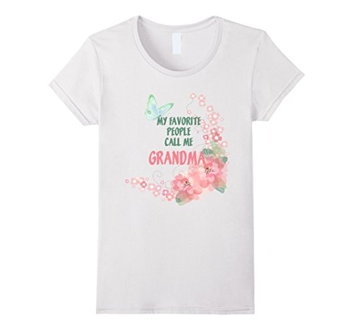 Price comparison product image Women's Watercolor Favorite People Grandma Butterfly Floral t-shirt  Large White